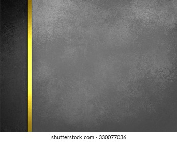 Luxury gray background with vintage texture and black side bar with gold ribbon trim, classy formal background layout
