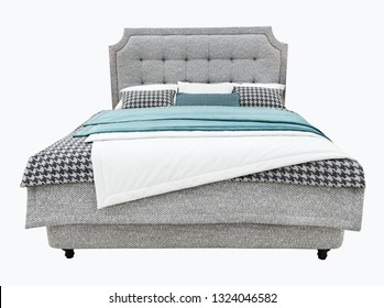 Luxury gray modern bed furniture with upholstery capitone texture headboard and fabric bedclothes. Classic modern furniture with shallow stripe cloth on isolated background