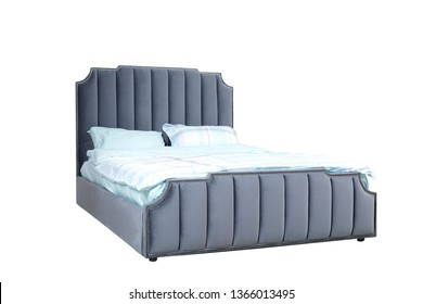 Luxury gray modern bed furniture with upholstery capitone texture headboard and fabric bedclothes. Classic modern furniture with shallow stripe cloth