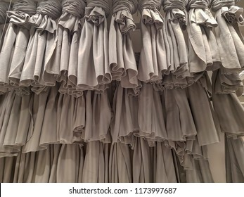 Luxury of Grey Ruffle Cotton Fabric for home decor and sun protection.