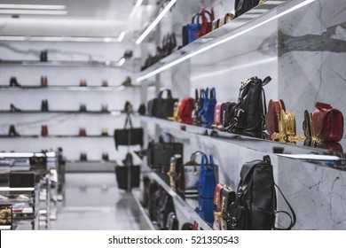 Luxury handbags in a store