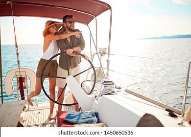 luxury happy couple on the boat enjoy on summer holiday