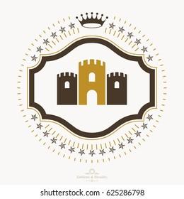 Luxury heraldic emblem template. Vector blazon.