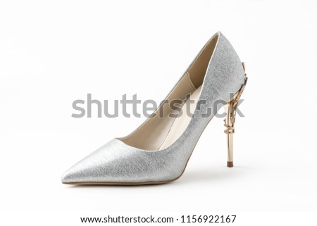 7588dcf0766 Luxury high heels isolated on white background. Clipping path for design or  artwork. Silver