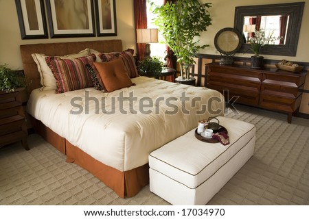 Luxury Home Bedroom With Stylish Furniture And Decor