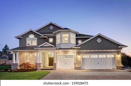 Luxury Home Exterior at Twilight