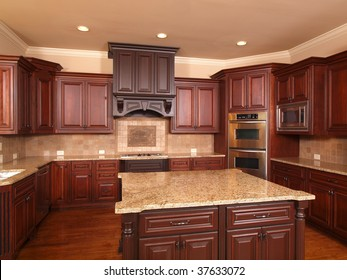 Luxury Home Kitchen front with center island and cabinets