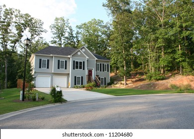 A luxury home set in a new subdivision