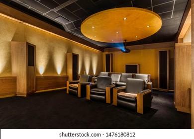 Luxury Home Theater Design.  Stylish Home Cinema Room. Private Screening Room