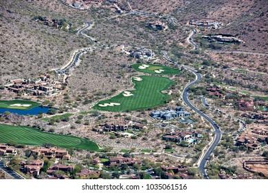 Luxury Homes dot the desert landscape near a gorgeous golf course