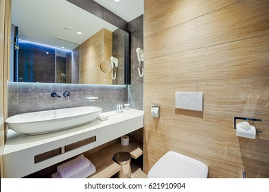 luxury hotel bathroom with nice decoration