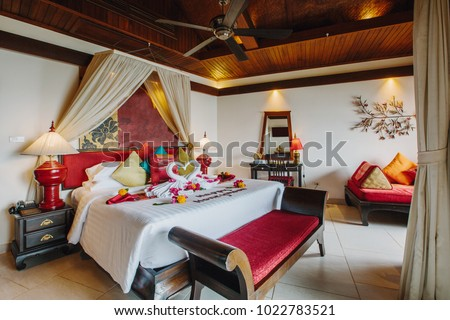 Luxury Hotel Bedroom Interior Honeymoon Decoration Stock Photo Edit