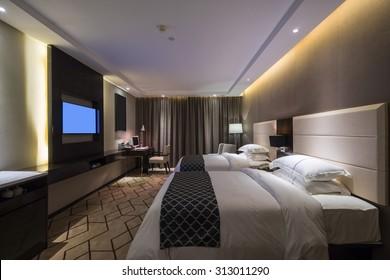 luxury hotel bedroom with nice decoration