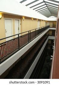 Luxury Hotel interior courtyard with vaulted skylight