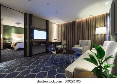 luxury hotel room with nice decoration