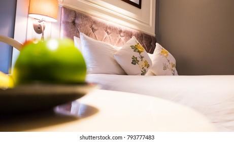 Luxury hotel suite focused at Pillow.