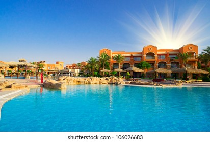 Luxury hotel swimming pool in the Egypt.