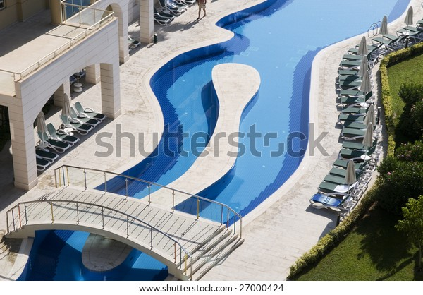 Luxury hotels with curve beautiful water pool