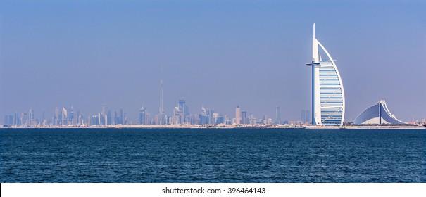 Luxury hotels on Jumeirah beach in Dubai,United Arab Emirates