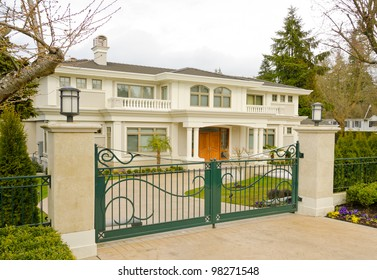 A luxury house behind the gates in suburbs of Vancouver, Canada