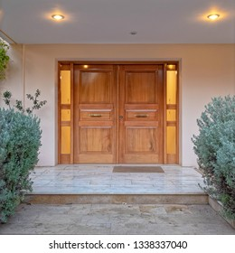 luxury house entramce wooden door early in the evening, Athens Greece