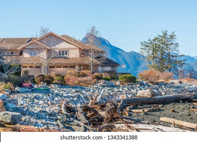 Luxury house with fantastic ocean and mountain view at Spring in Vancouver, Canada.