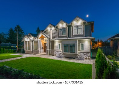 Luxury house, home  at   night, disk time in the suburbs of Vancouver, Canada.