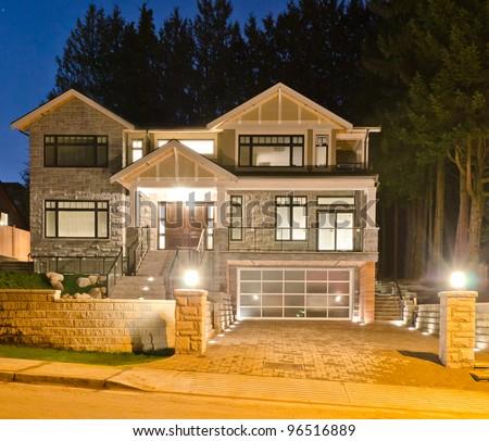 Luxury House Original Glass Garage Doors Stock Photo Edit Now