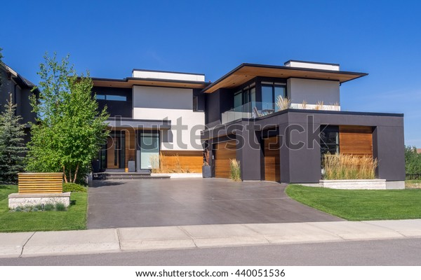 Luxury house at sunny day in Calgary, Canada.