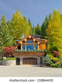 Luxury house at sunny day in Whistler, Canada.