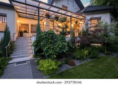 Luxury house with verandah and beauty garden