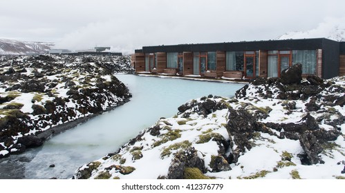 Luxury houses for healthy Spa body treatment at Blue lagoon lake in Iceland