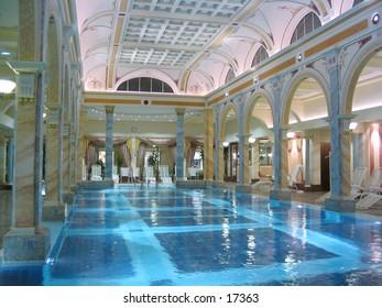 Luxury indor swimming pool in Hotel Bad Ragaz in Switzerland