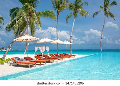Luxury infinity pool with loungers and palm trees over white sand. Perfect summer beach landscape, romantic canopy and peaceful sea view. Tropical vacation destination and summer tourism holiday scene
