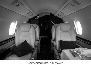 Luxury interior aircraft business aviation decorated table