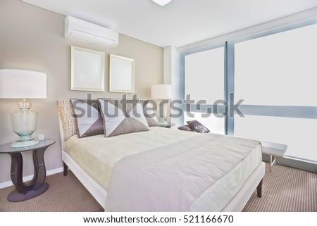 Luxury interior bedroom modern single bed stock photo edit now