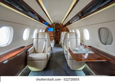 Luxury interior in bright colors in the private business jet