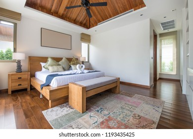 Luxury Interior design in bedroom of pool villa with cozy king bed.high raised ceiling , home, house