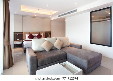 Luxury Interior Design In Bedroom Of Pool Villa