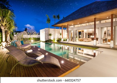 Luxury Interior and exterior design  pool villa with living room  at  night sky  home, house ,sunbed ,sofa