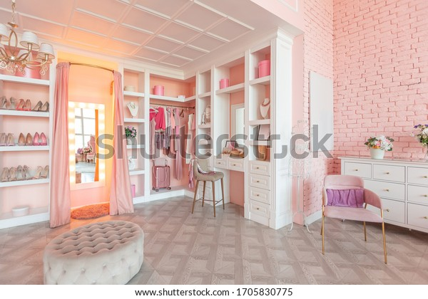 Luxury Interior Large Room Pink Colors Stock Photo Edit Now 1705830775