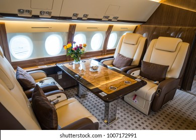 Luxury interior in the modern private business jet