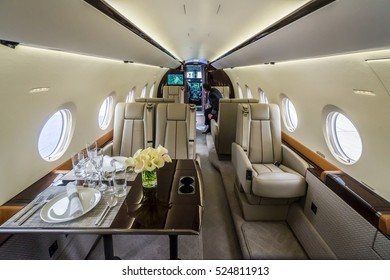 Luxury interior in the modern private business jet.