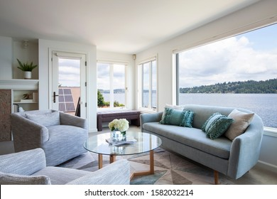 Luxury Interior Sitting Room with Stunning Lake View