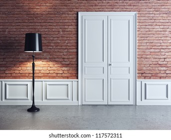 luxury interior, white door and lamp