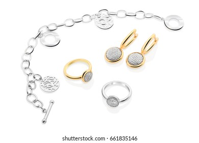 Luxury jewelry on a white background.