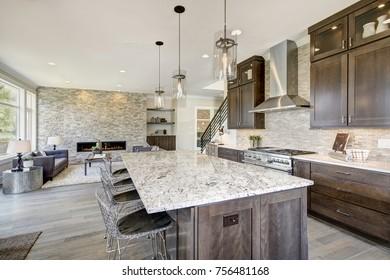 Lujosa cocina acentuada con una gran isla de cocina de granito, contrastes de tejas, cabinas de madera marrón natural y electrodomésticos de acero inoxidable de gama alta. Noroeste, Estados Unidos