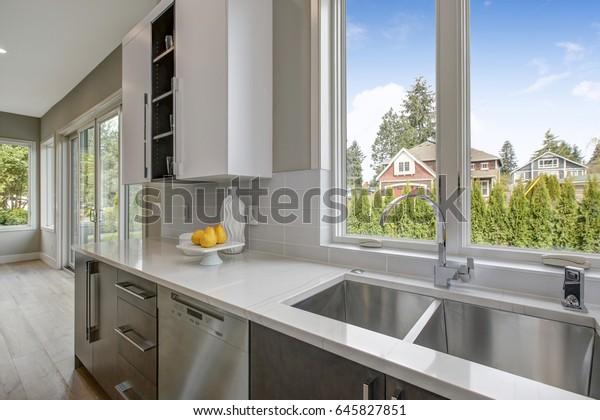 Luxury Kitchen Blue Glass Subway Tile Stock Photo (Edit Now ...