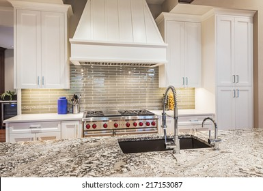 Luxury Kitchen Detail: Island, Counter-top, Sink, Cabinets, Range, and Oven