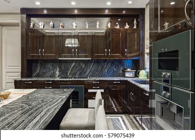 luxury kitchen interior with a large central island of marble